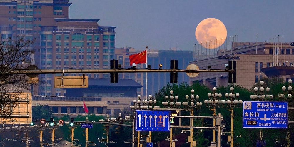 """组图:最大最圆""""超级月亮""""现身天宇"""