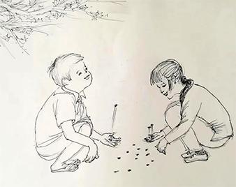 闪电文史|运河沿岸儿童游戏拾子儿、翻绳儿