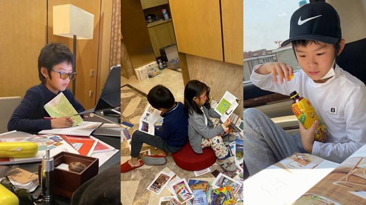 真的喜欢书!王大雷晒儿子读书照