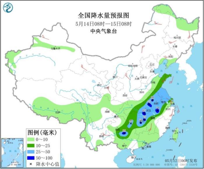 全国降水量预报图(5月14日08时-15日08时)