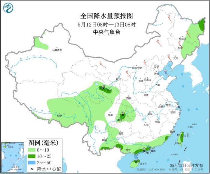 全国降水量预报图(5月12日08时-13日08时)