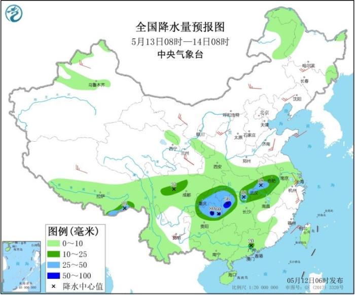 全国降水量预报图(5月13日08时-14日08时)