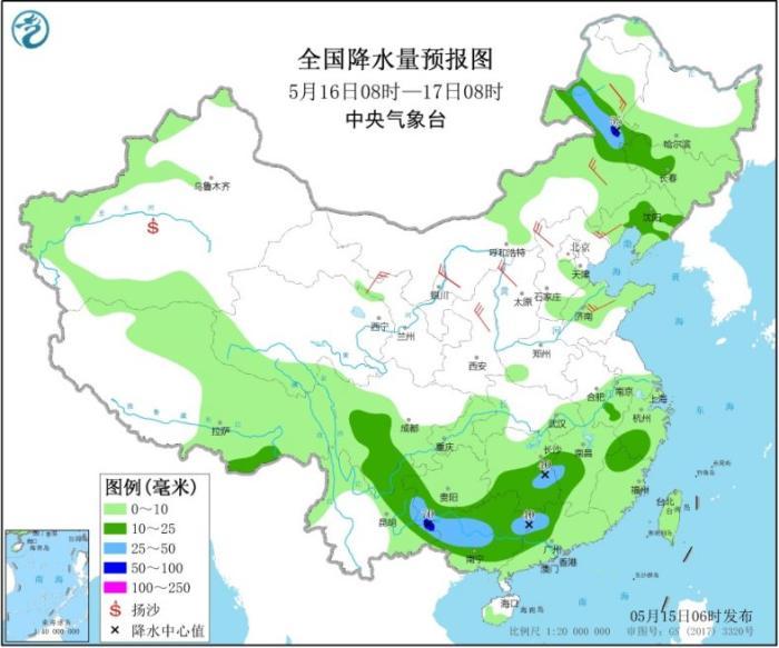 全国降水量预报图(5月16日08时-17日08时)