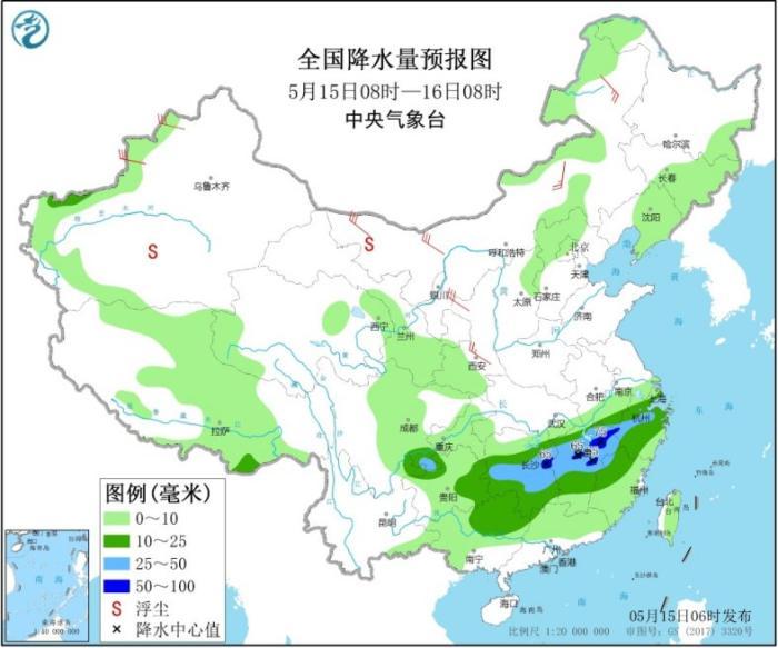 全国降水量预报图(5月15日08时-16日08时)