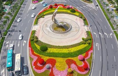 济南市区唯一椭圆交通环岛变花岛