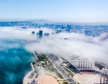 航拍威海平流霧,云海翻騰宛若仙境