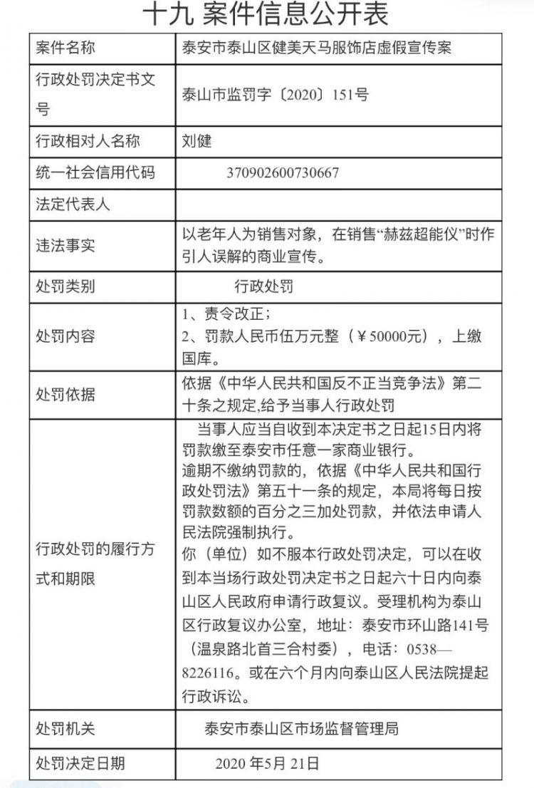 虚假宣传,泰安健美天马服饰店被罚5万元