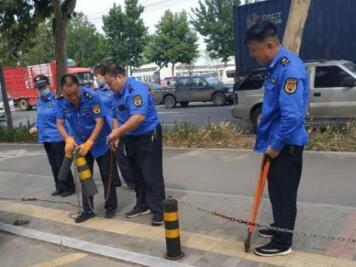 淄博中心城区开展阻车桩专项治理拆除工作