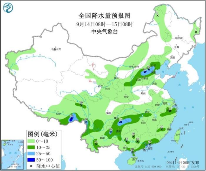 全国降水量预报图(9月14日08时-15日08时)