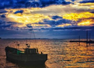醉美银滩丨落日余晖映海天