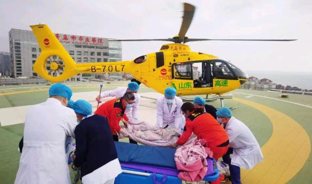 直升机跨城救援 50分钟转运莱州危重患者