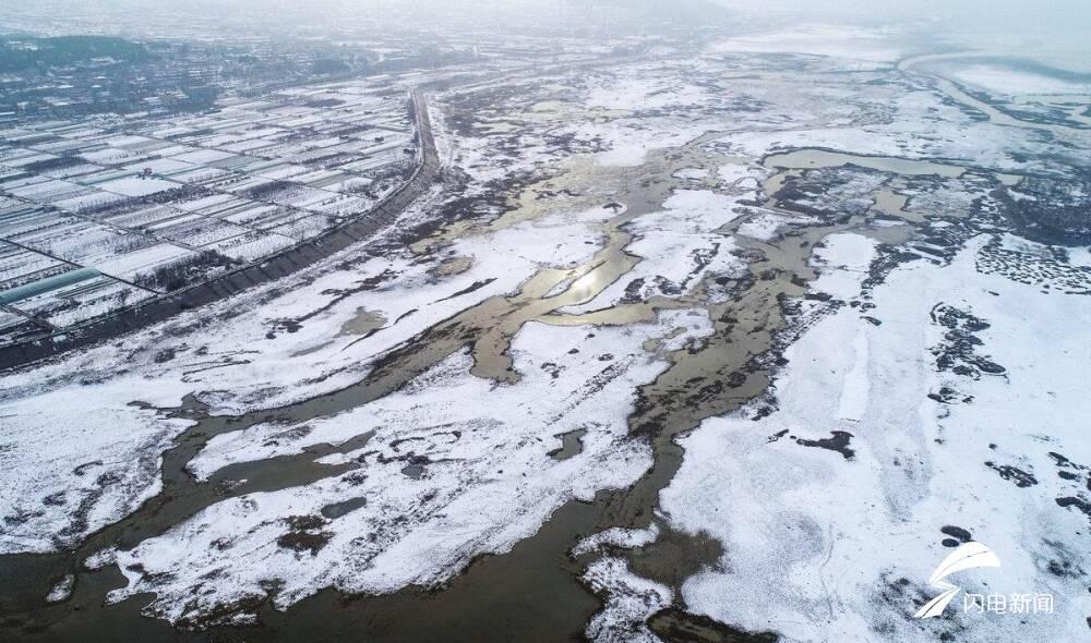 航拍济南南部山区雪后美景