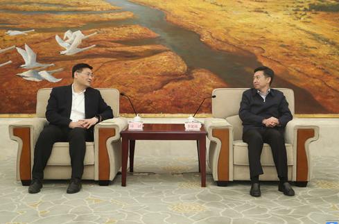 李宽端会见国网山东省电力公司董事长蒋斌一行