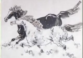 水墨画技巧——两匹马的画法