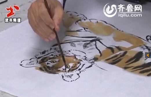 写意虎的画法:卧虎