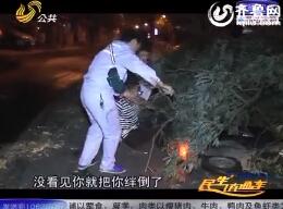 济南:凌晨凤凰山路大树枝突折断 绊倒骑车小伙子