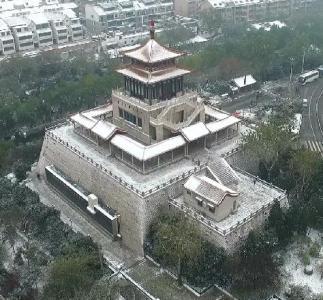 航拍2015济南第一场雪