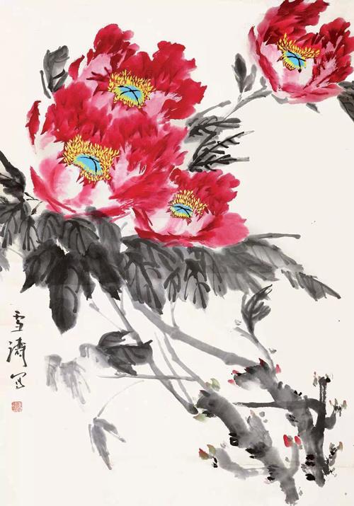 王雪涛写意牡丹画欣赏