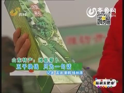 山东特产潍县萝卜:五千块钱 只为一句话