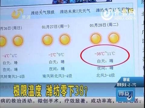 极限温度 潍坊零下38度?