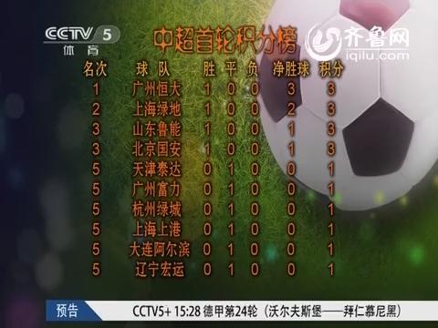 2014中超首轮积分榜:恒大占据领头羊 申花鲁能国安紧随其后