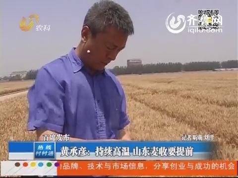 【首席发布】黄承彦:持续高温 山东麦收要提前