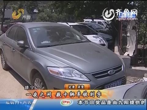 济南:一夜之间 数十辆车被刻字