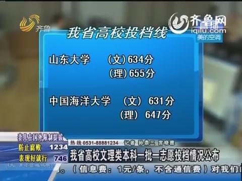 山东省高校文理类本科一批一志愿投档情况公布