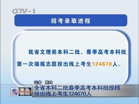 山东省本科二批春季高考本科批投档 投出线上考生124670人