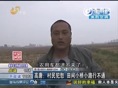 高唐:村民犯愁 田间小桥小路行不通