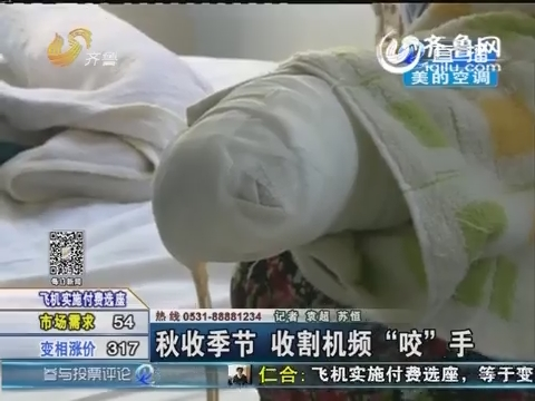 """济南:秋收季节 收割机频""""咬""""手"""