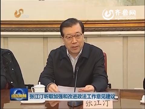 张江汀听取加强和改进政法工作意见建议
